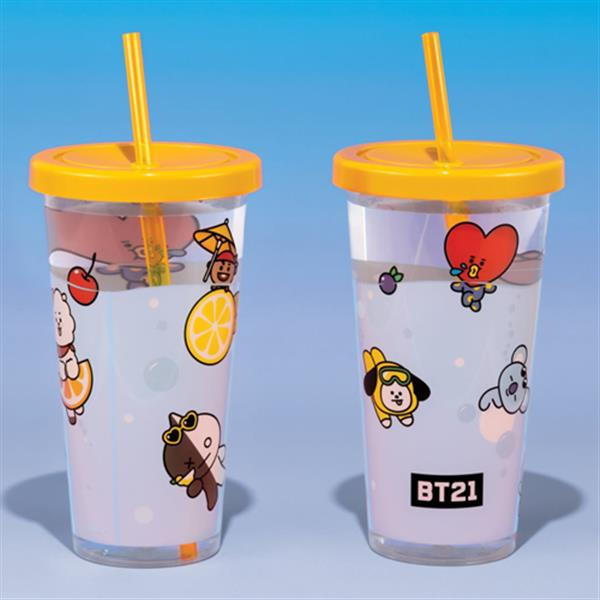 BT21 CUP AND STRAW